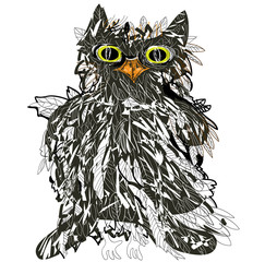 Owl. Vector isolated drawing.