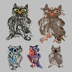 Owls - cute cartoon vector set for Halloween.