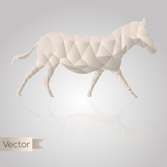Poster Geometric animals Abstract triangular beige horse isolated on a white background