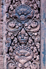 Texture of Ancient bas-relief at Banteay Srey Temple, Cambodia