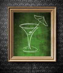 Drink, alcohol menu chalkboard in old wooden frame
