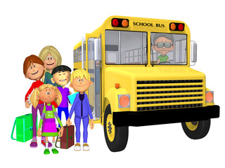 Schoolchildren 3d and schoolbus