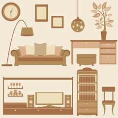 vector set of furniture in livingroom