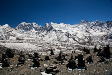 Chortens at the Pass in Sagarmatha National Park, Nepal