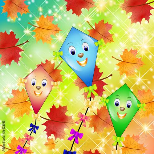 Herbst Drachen Hintergrund Stockfotos Und Lizenzfreie Vektoren Auf