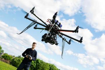 Technician Flying UAV Helicopter in Park