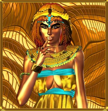 Metallic egyptian queen on abstract background