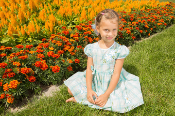 Girl Near Flowerbed