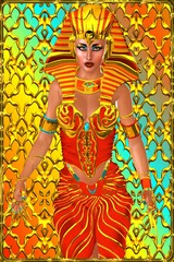 Cleopatra conceptual,  front view, abstract background