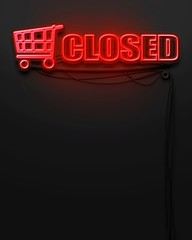 Neon glowing sign with word Closed, copyspace
