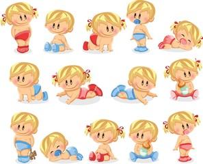 Векторная иллюстрация мальчиков и новорожденных девочек