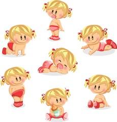 Векторная иллюстрация новорожденных девочек