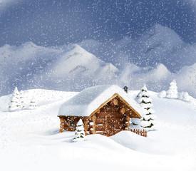 Christmas winter landscape - hut, snow, pine, fir
