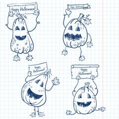 Happy Halloween pumpkins set