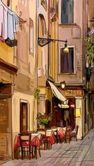 Wall Mural - Street in Roma - illustration