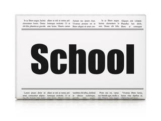 Education news concept: newspaper headline School