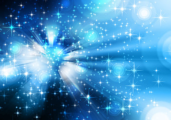 stars descending blue background