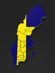 Three-dimensional map of Sweden