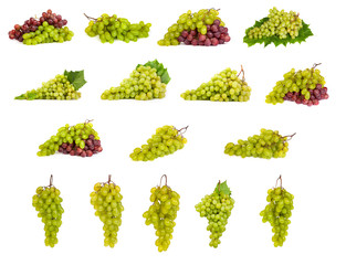 set of White and Red Grapes laying isolated