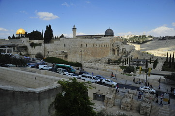 The Western Wall and dome of Al-Aqsa Mosque, Jerusalem