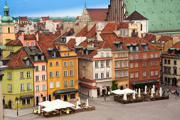 Color houses on Castle square in Warsaw