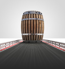 barrel on motorway track leading to storage