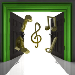 flying music sound through green doorway