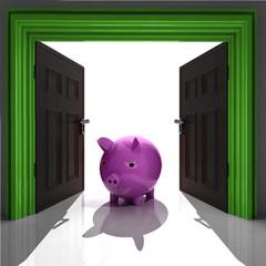 pig standing in green framed doorway