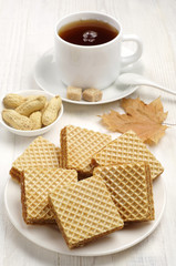 Sweet waffle and cup of tea