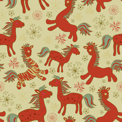Seamless with red drawing horses