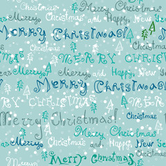 Seamless handwritten text pattern with Christmas elements