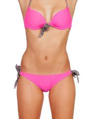 Attractive female body with pink swimwear