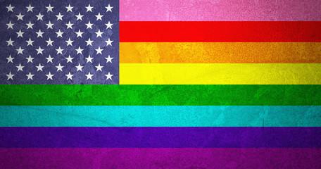 Rainbow Flag and American Flag