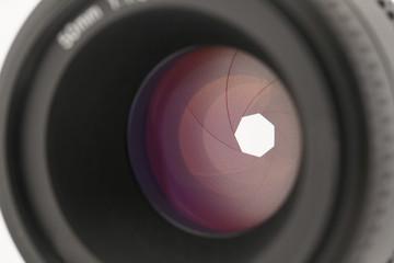 Lens shutter colse-up (Focus on shutter blade)