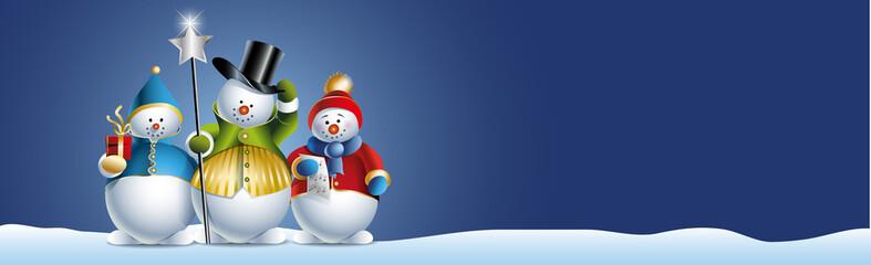 Drei weihnachtliche Schneemänner