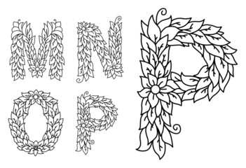 Floral letters M, N, O and P
