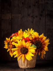 sunflowers in basket
