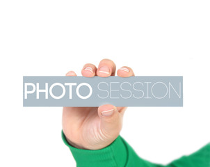 woman holding a label with photo session