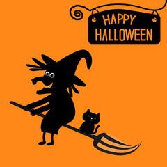 Happy Halloween witch and cat card.