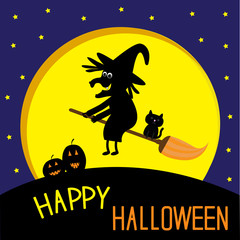 Flying black witch and cat. Big moon. Happy Halloween card.