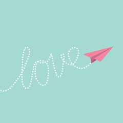 Origami paper plane in the sky. Love card.