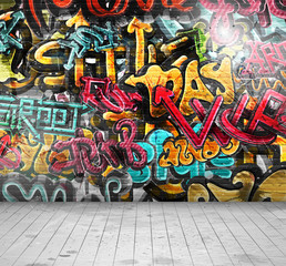 Foto op Plexiglas Graffiti Graffiti on wall