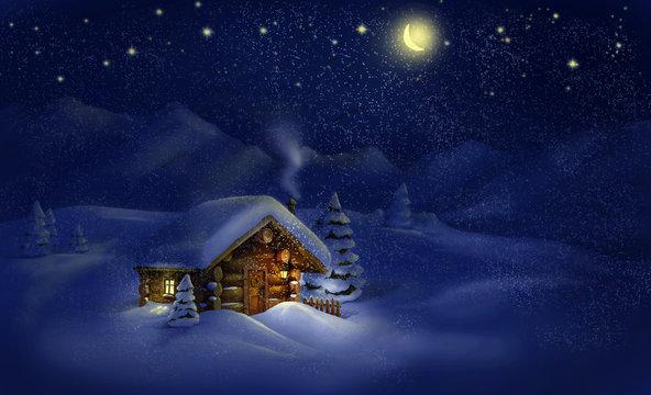 Christmas night landscape - hut, snow, pine trees, Moon