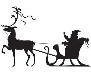 Santa Claus riding on a deer sleigh