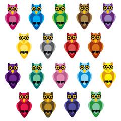 cartoon patchwork owls