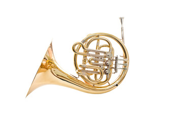 Wall Mural - French horn on a white background
