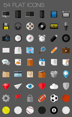 54 flat icons and pictograms set