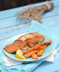 grilled salmon with carrot
