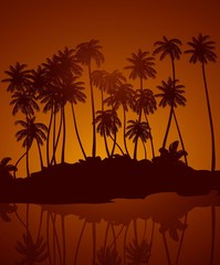 Tropical night. Vector background.