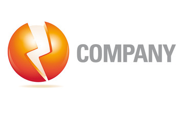 Sphere and flash company logo